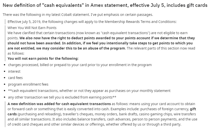 latest changes to amex
